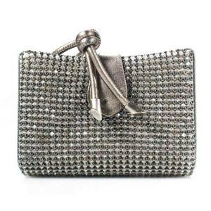 Giorgio Armani Silver Leather Beaded Magnetic Bag